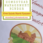 homestead management binder with a farm graphic with the title How to Conquer Your Goals with a Homestead Management Binder