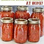 home canned salsa in mason jars, salsa recipe for canning