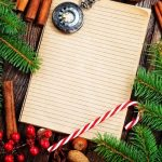 notebook with pine, candy cane, and cinnamon