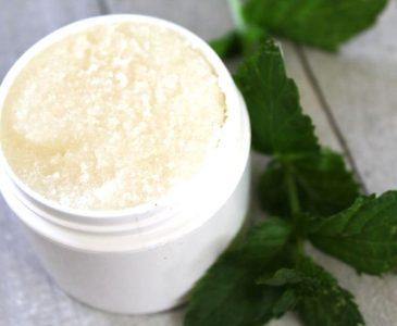 sugar scrub with a sprig of mint