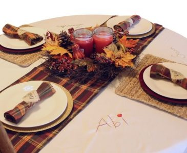 table setting with an embroidered tablecloth