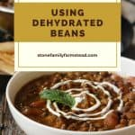 bowl of chili - 5 Delicious and Easy Ways to Use Dehydrated Pinto Beans - Stone Family Farmstead