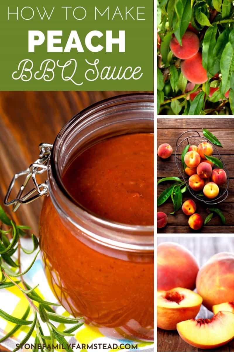 various photos of peach bbq sauce and fresh peaches